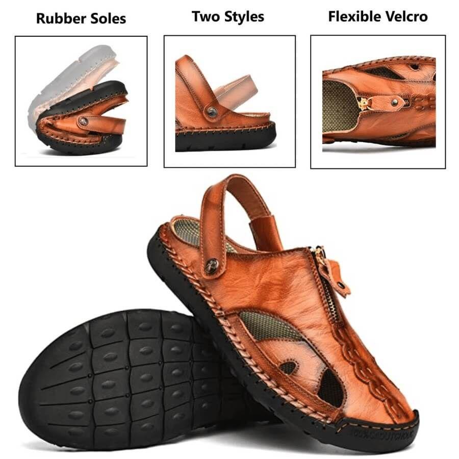 Rafael Men genuine leather flexible velcro non-slip sandals