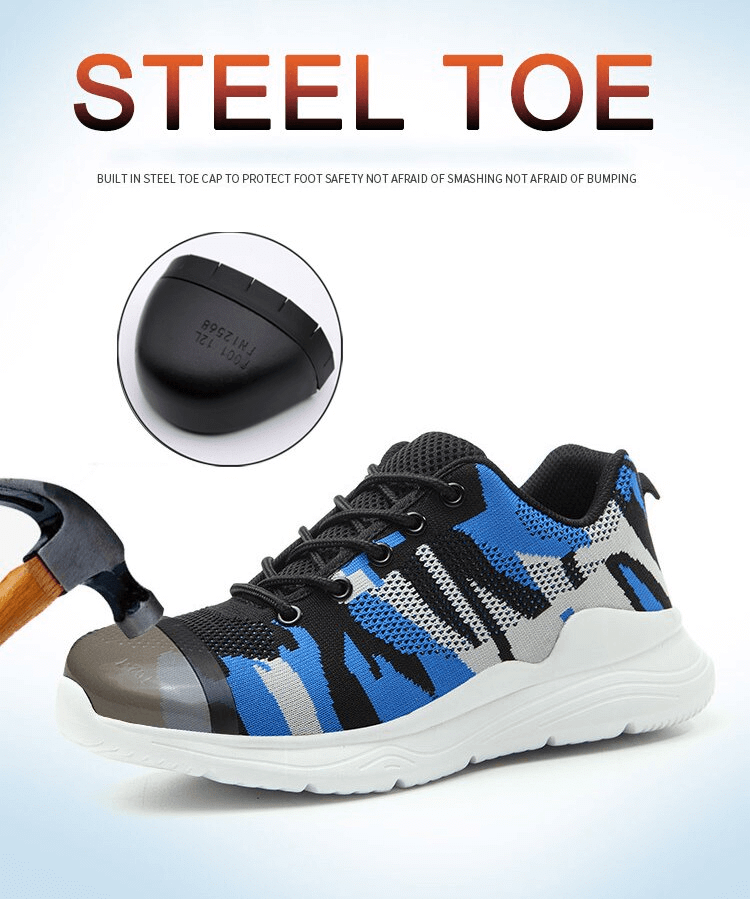 GEARX™ Breathable Camouflage Safety Shoes Work Sneakers